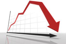 L'image représente un graphique de taux immobilier en baisse, ce qui représente une opportunité de rachat de crédit à bas taux intressante.